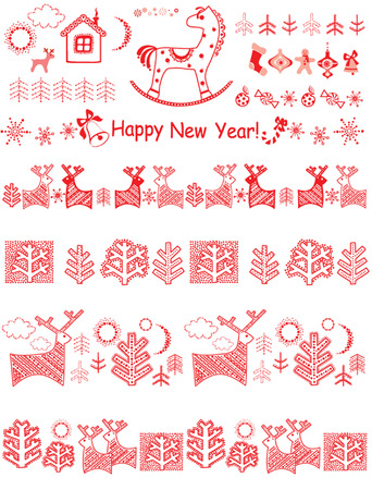Christmas red borders Vector