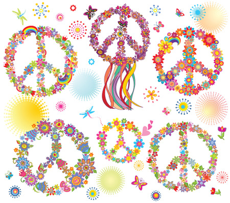 Collection of Peace flower symbol Vector
