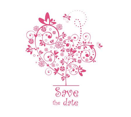 사랑스러운 나무와 귀여운 엽서