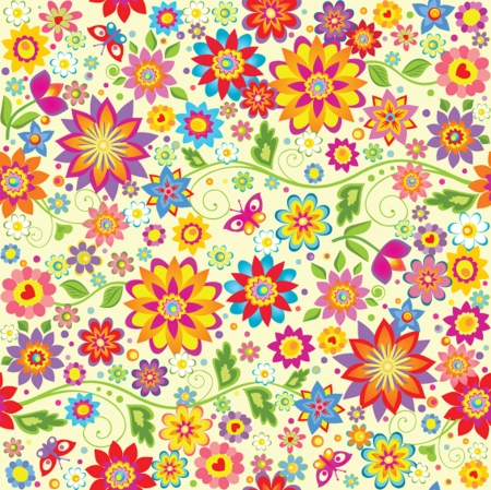 Floral colorful wallpaper. Vector