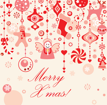 Funny seamless xmas red background Vector