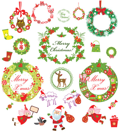 Set of christmas wreath Vector