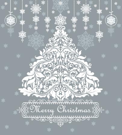 christmas  ornament: Vintage blue card with xmas tree
