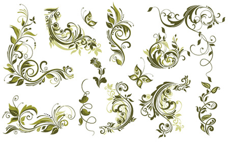 flore: Vintage olive design elements Illustration