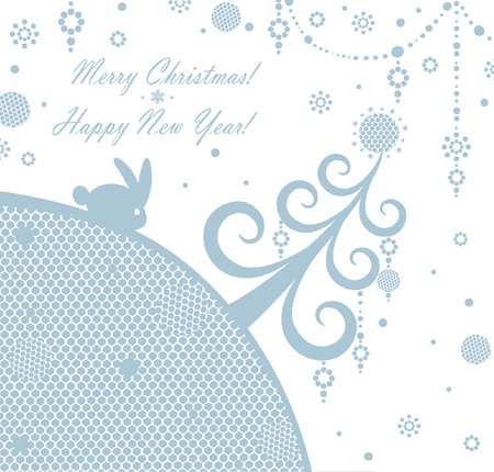 snowball: Xmas card with bunny Illustration