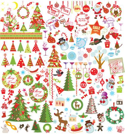 christmas sleigh: Funny Xmas set Illustration
