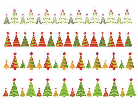 fir tree balls: Christmas seamless borders