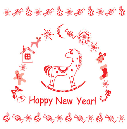 New Year greeting card with little red horse.  Vector