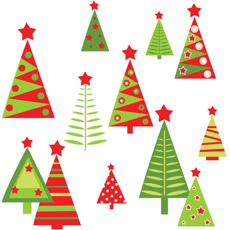 cartoon christmas tree: New Year wrapper Illustration