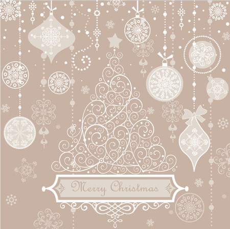 tree trimming: Retro greeting pastel card with xmas tree.  Illustration