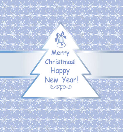 Blue winter label with wishes Vector