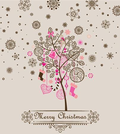 cute tree: Christmas vintage greeting with cute tree