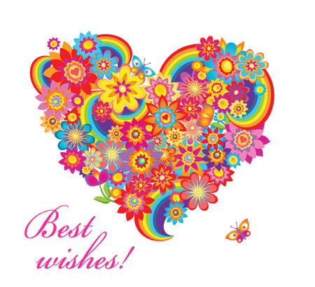Colorful flower heart Vector