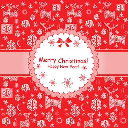 Red greeting xmas label Vector