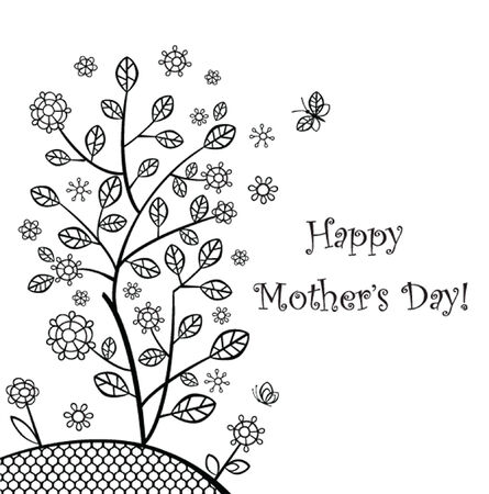 Greeting card with decorative tree for Mothers day Vector