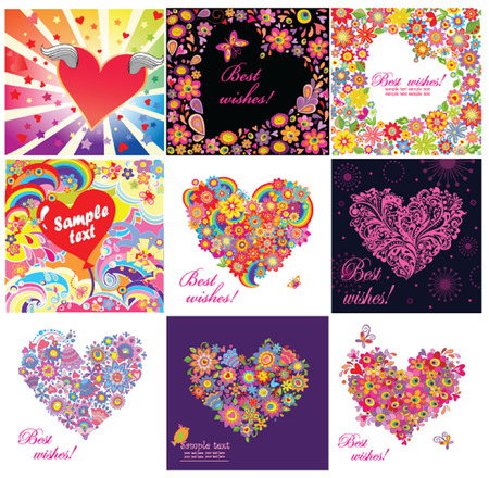 Greeting cards with funny hearts Vector