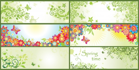Spring horizontal banners Vector