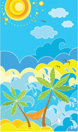 sun beach: Summer holiday poster with palm