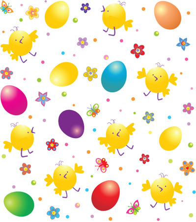 Easter wrapper with funny chicken Vector