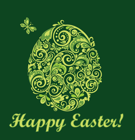 Easter green card Vector