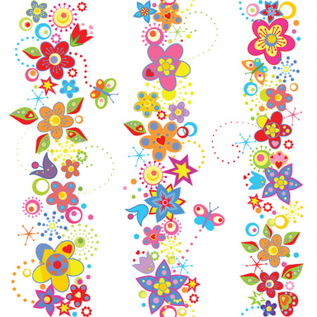 Funny seamless floral borders Vector