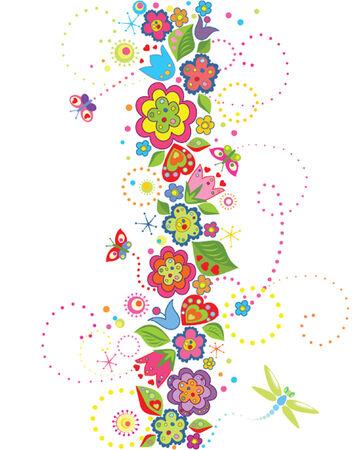 Naadloze grens met grappige kleurrijke bloemen