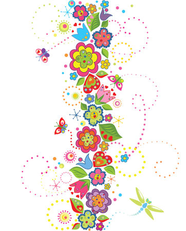 Seamless border with funny colorful flowers Vector