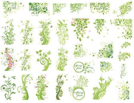 Set of green floral design elements
