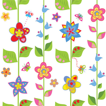 Spring wrapping with funny flowers Vector