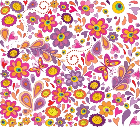 Wallpaper with funny flowers Vector