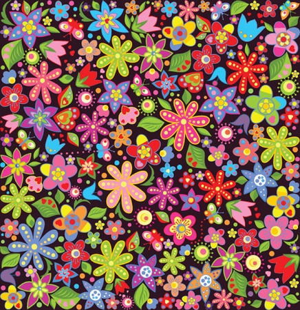 Bright wallpaper with summer flowers