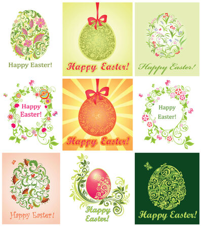 Collection of greeting cards with easter eggs Vector