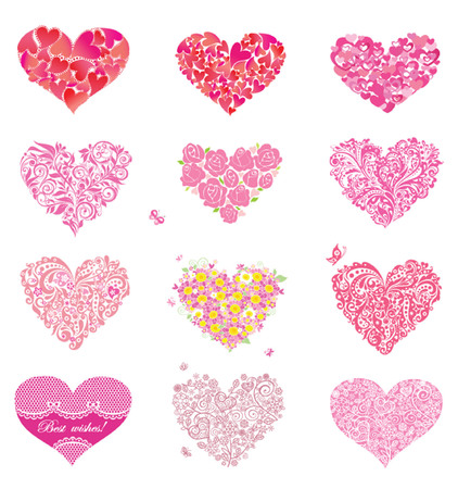 Set of beautiful floral and lacy hearts Vector