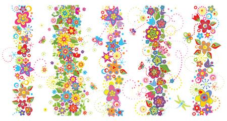 Naadloze grenzen met grappige kleurrijke bloemen