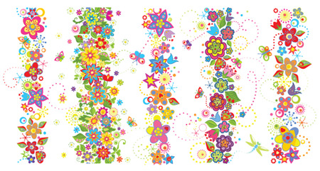 Seamless borders with funny colorful flowers Çizim