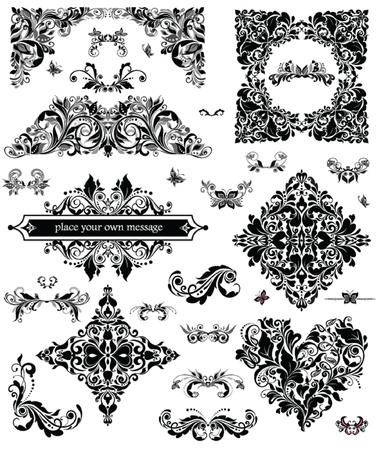 adornment: Set of floral adornment Illustration