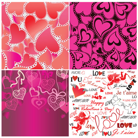 Set of valentines day wallpaper Vector