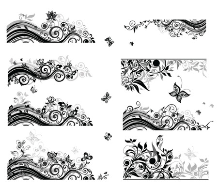flores: Set of vintage backgrounds (black and white)
