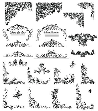 bijschrift: Set van vintage bloemen bijschrift (zwart-wit)