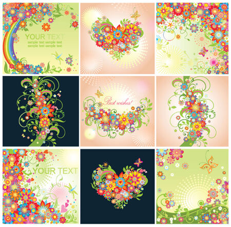 Spring cards with flowers Vector