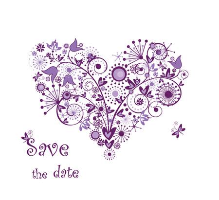 Violet floral heart Illustration
