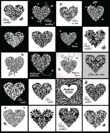 black lace: Black and white greeting cards with hearts shape