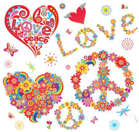 simbolo paz: Conjunto de símbolo de la flor de la paz y corazones florales