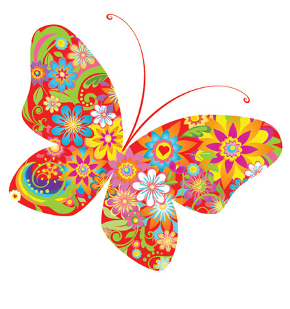 Abstract flowers butterfly Vector
