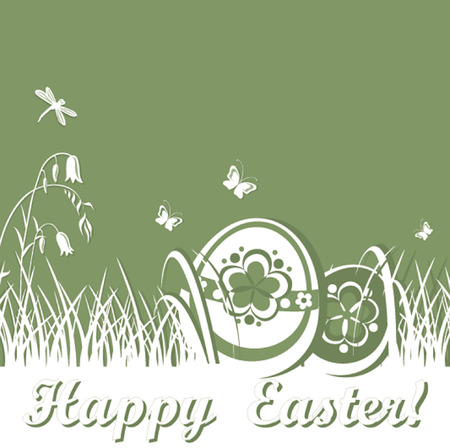 Spring card with easter eggs Illustration