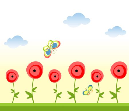 Seamless abstract border with poppies Vector