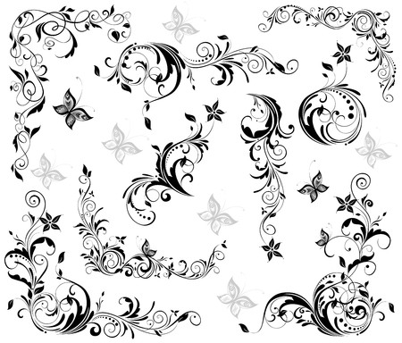 swirl patterns: Vintage floral decorative elements  black and white
