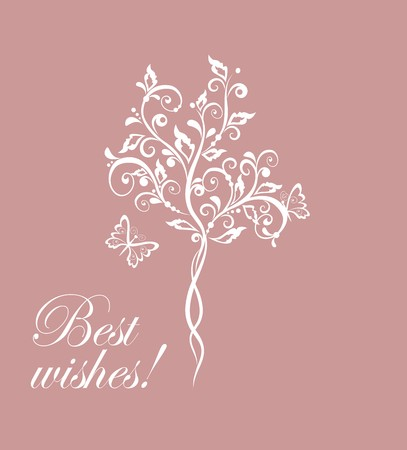 Wedding card with beautiful tree Vector