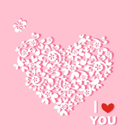 Beautiful paper heart with greeting for you Vector