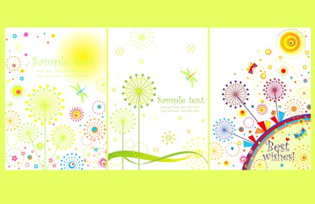Cards with abstract dandelions Vector